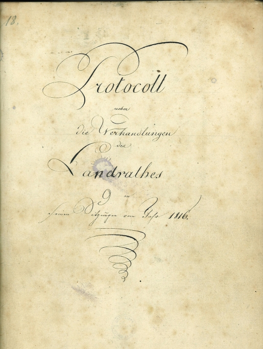 Landraths-Protokoll 1816_Titel